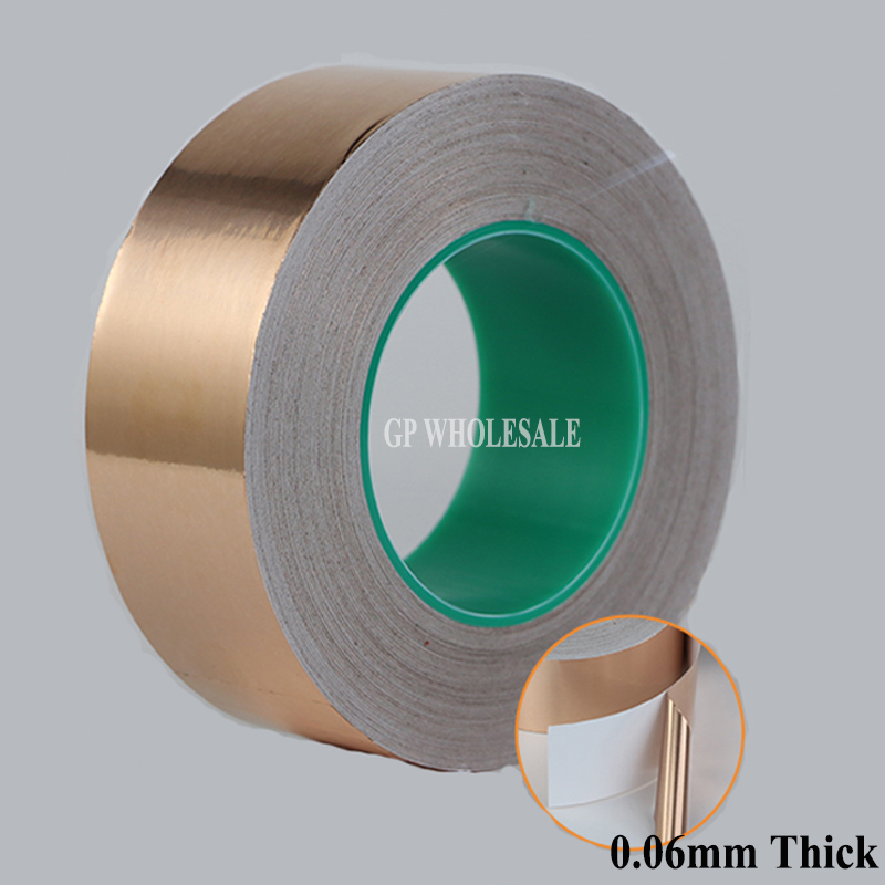 (0.06mm thick) 100mm*30M Single Sticky, Two Side Conductive Copper Foil Tape, EMI Masking fit for Transformer, Cellphone 10cm 100mm 30m 0 06mm one side conductive