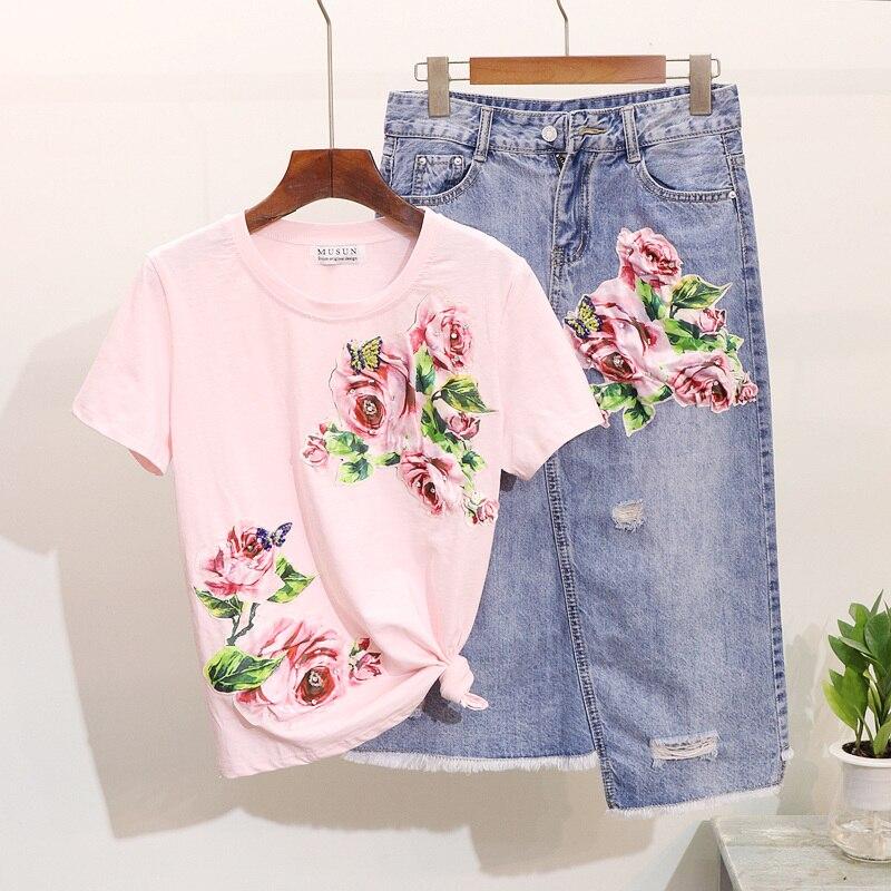 Denim Skirts Set Woman's Twopiece Suits Spring Summer New Beads Diamond Flowers Cotton Tee + Grinding Cowboy Skirt Two Piece Set