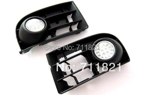 Front Fog Light Kit LED White For VW Golf MK5 bumper grille front fog light kit with led surround for vw golf mk4
