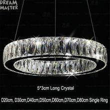 Современная светодиодная Подвесная лампа с кристаллами длиной