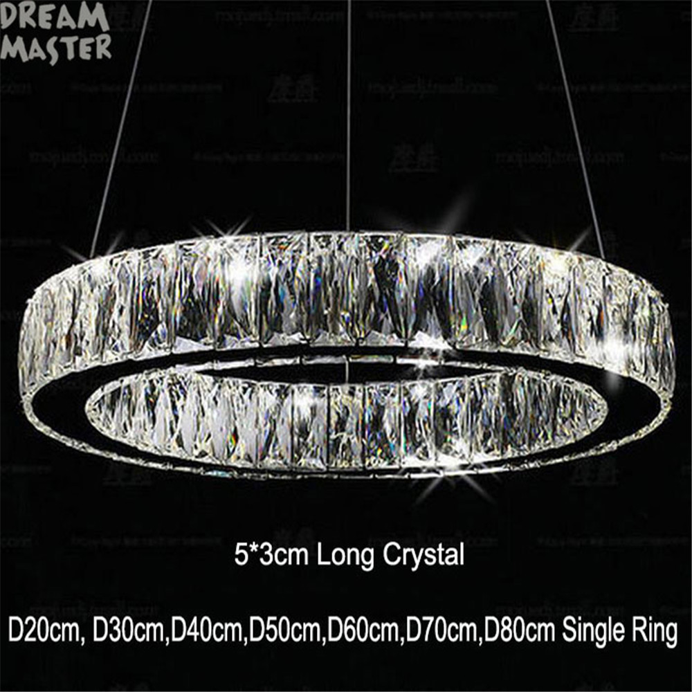 Modern 5*3cm Long Crystal LED Pendant Lamp Rings Living Room Bedroom Kitchen Novelty Lustres Items Home Hanging Lighting Lamp
