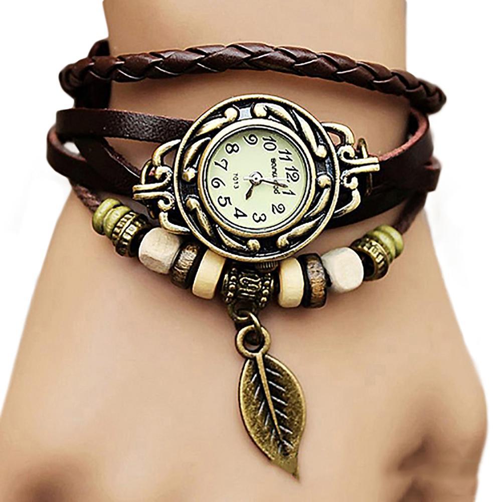 woman watch Retro Multilayer Leaf Pendant Bead Braided Faux Leather Quartz Bracelet Watch relogios feminino dames horloges