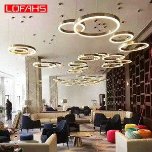 Image 2 - LOFAHS Modern LED avize lüks büyük kombinasyon daire oturma odası için led lamba asılı fikstür yüzük avizeler lamba