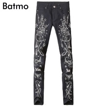 2017 new arrival high quality classic casual skinny printed black jeans men,black men's casual printed pants ,size 28 to 36