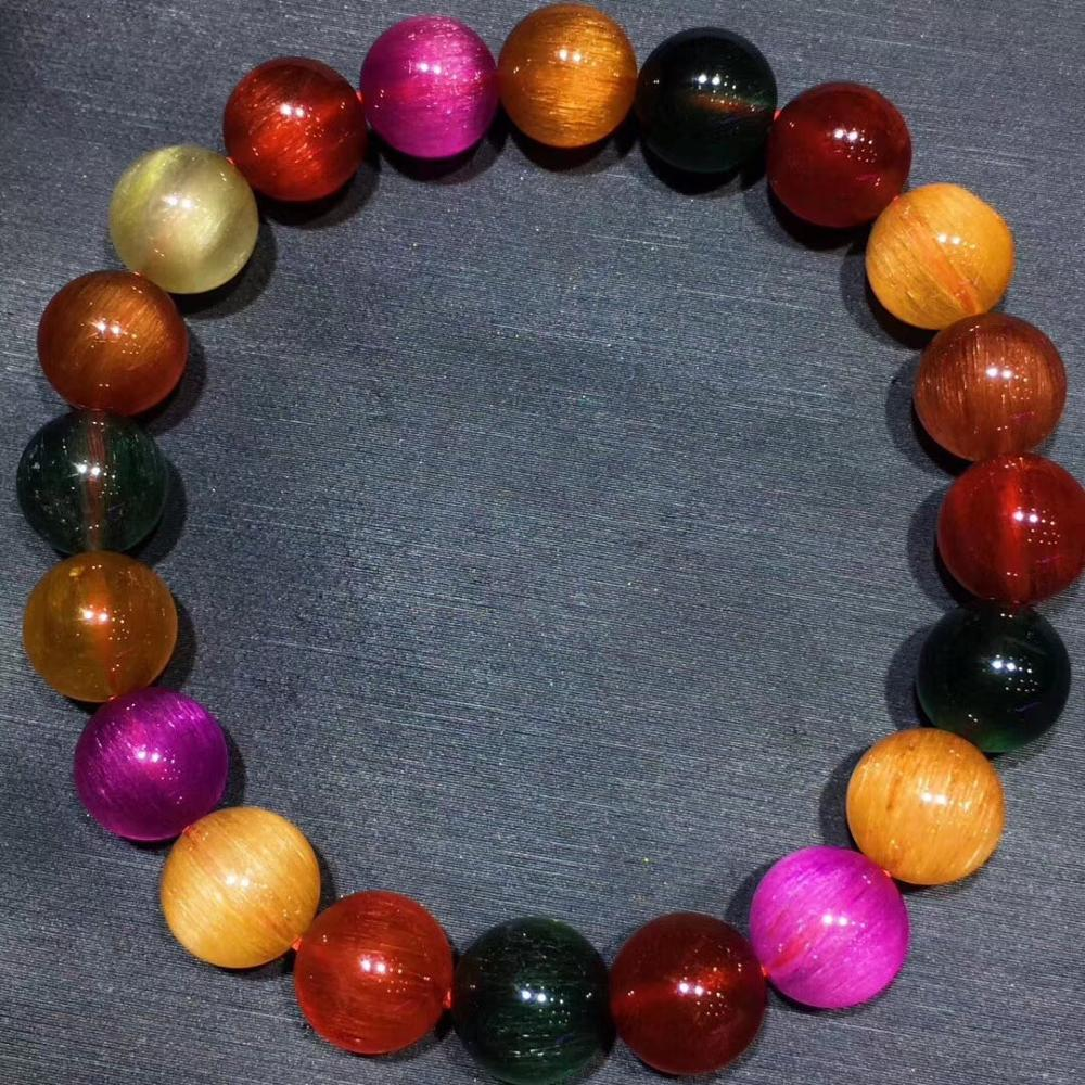 Certificate Natural Colorful Copper Gold Green Hair Rutilated Quartz Bracelet Women Crystal 9 5mm Round Beads Gems Jewelry AAAA in Bracelets Bangles from Jewelry Accessories