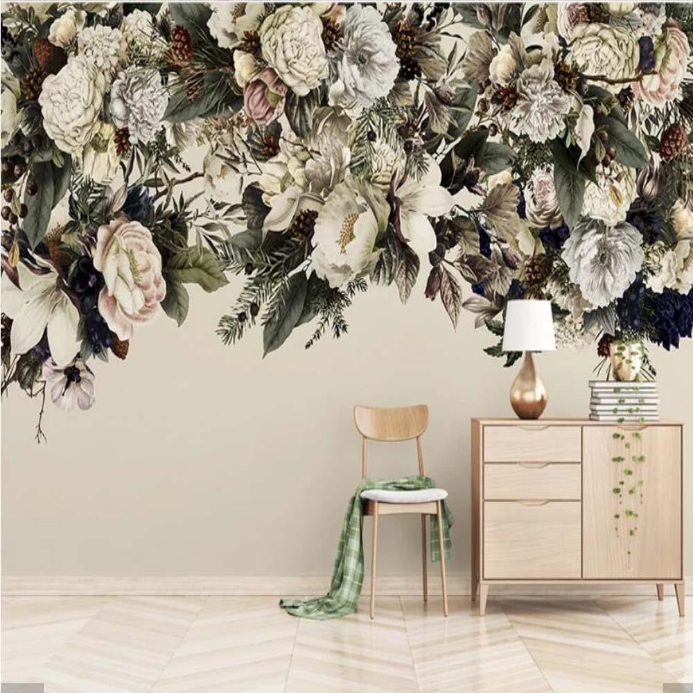 US $9.6 52% OFF 3D Nordic Vintage Hand Painting Flower Wallpaper Mural  Creative Art Wall Wallpaper Murals Bedroom HD Printed Floral Wall Paper-in  ...