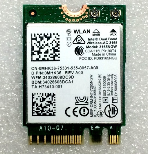 SSEA New For Intel Dual Band Wireless-AC 3165 3165NGW WIFI Bluetooth4.0 NGFF Wifi Card 802.11AC 433Mbps For DELL 14-5457 5457