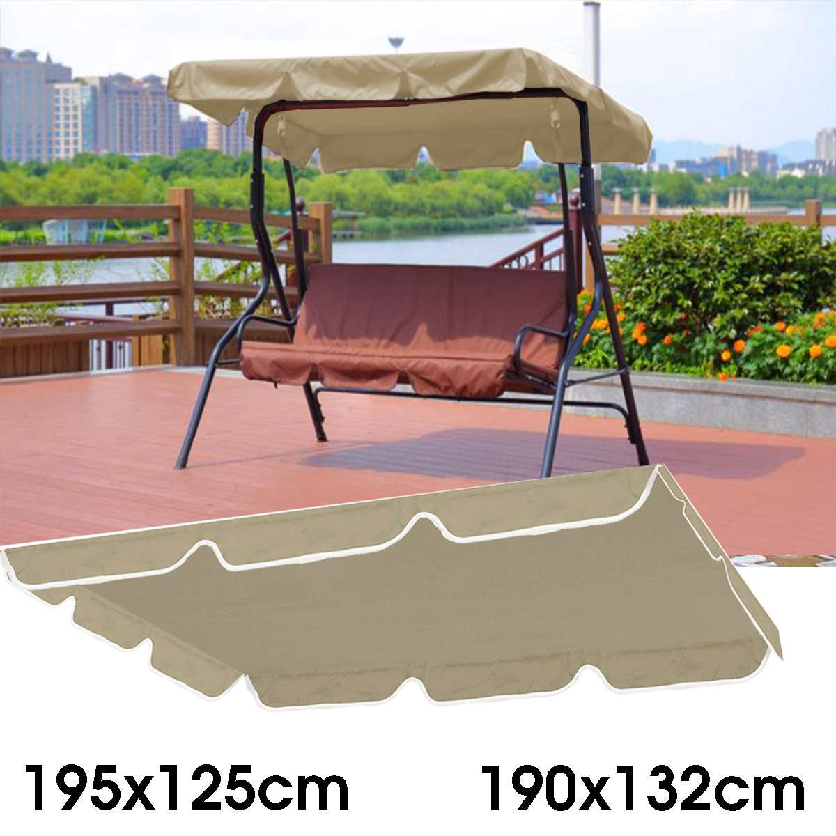 """Top Cover Canopy 66/""""X45/""""X5.9 Anti-UV Chair Swing Awning"""