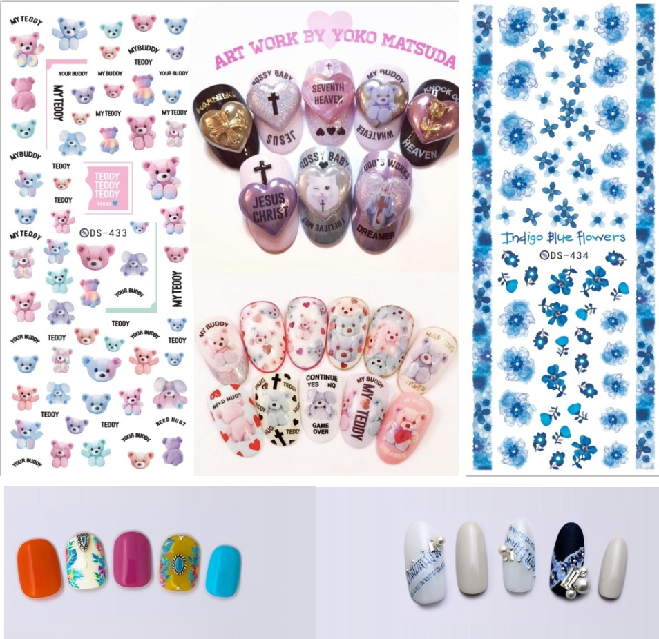Rocooart DS419 439 New Summer Fantacy Flowers Water Transfer Nails Art Sticker Harajuku Nail Wrap Sticker Tips Manicura stickers