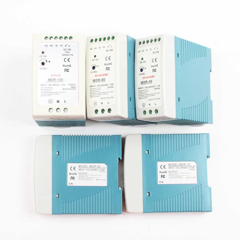 Din-рейка переключатель питания MDR-10W 20 Вт 40 Вт 60 Вт 100 Вт 5 в 12 В 15 в 24 в 36 в 48 в выход DIANQI Переключение 5 в 12 В 15 в 24 в 36 в 48V