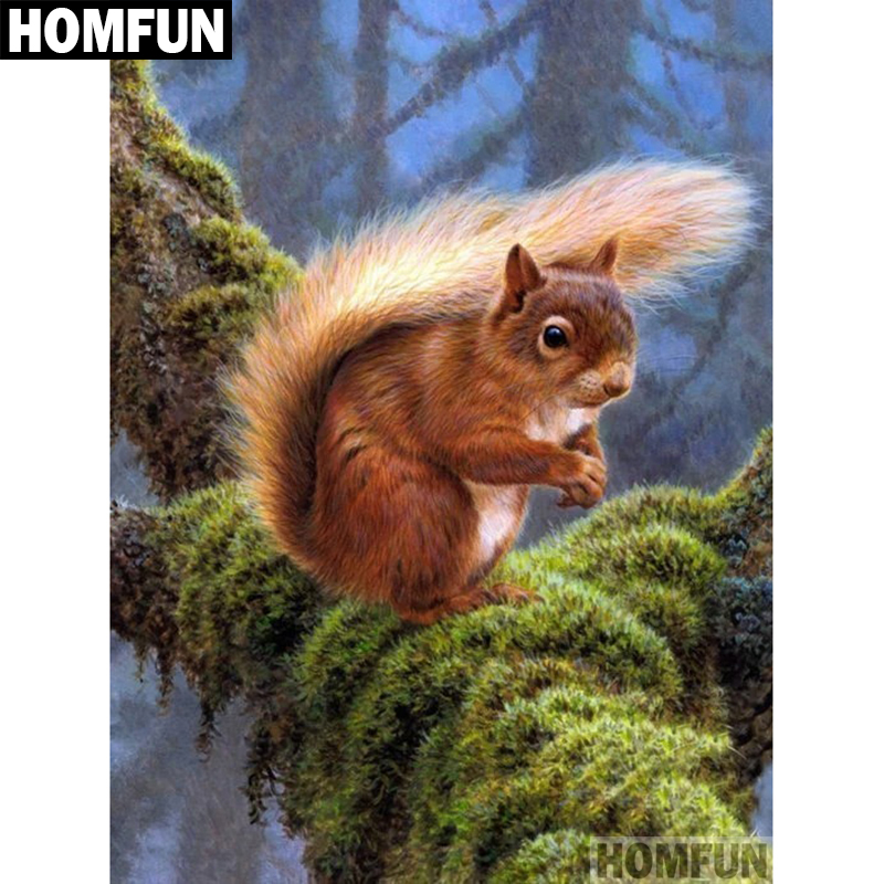 HOMFUN Full Square/Round Drill 5D DIY Diamond Painting Forest squirrel 3D Embroidery Cross Stitch Mosaic Home Decor A00692 ...