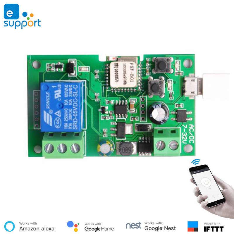 EweLink inteligente USB 7-32V bricolaje 1 canal correr empujando de auto-bloqueo WIFI inalámbrico casa inteligente interruptor control remoto con Amazon Alexa