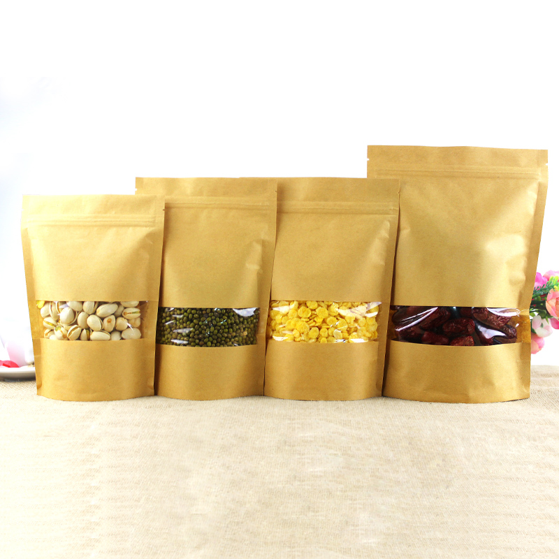3.5x5.1 (9x13cm) Small Kraft Paper W/ Clear Window Stand Up Pack Package Bag for Food Co ...