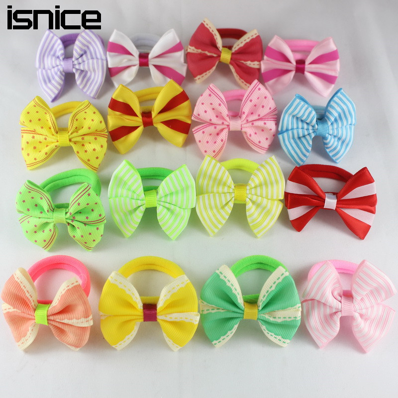 Isnice 10 Pcs 2 Inch Dot/ Star Print Bow hairpins Rubber bans