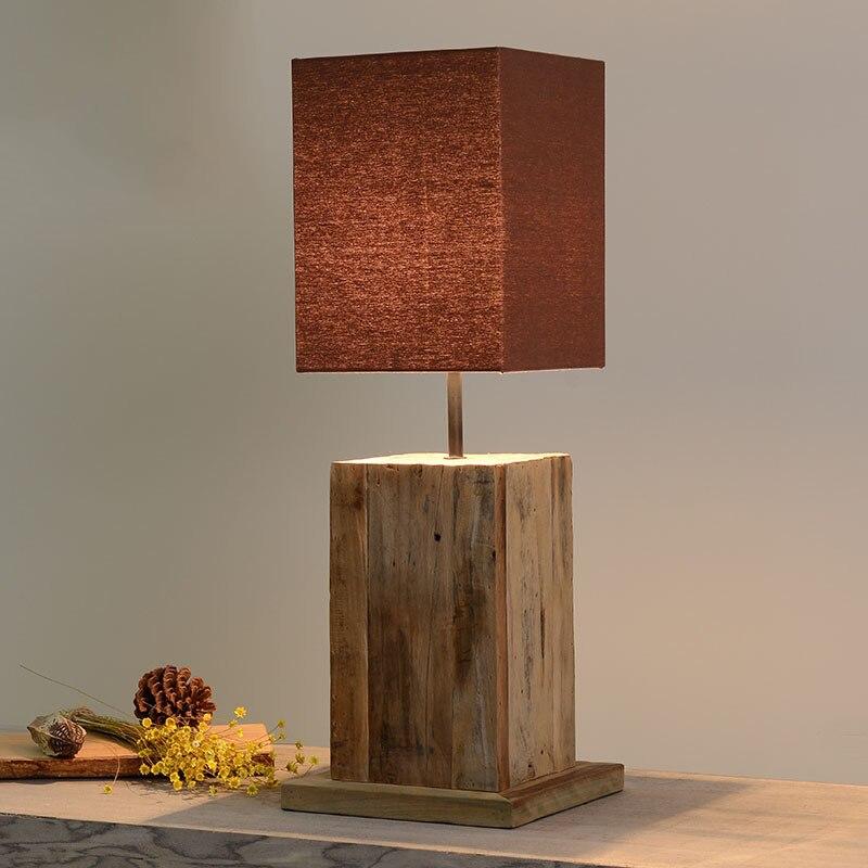 Новый современный китайский Стиль оригинальный ELM дерево Ткань E27 Настольная лампа для Спальня Гостиная вход Кофе Бар Декор огни 1806
