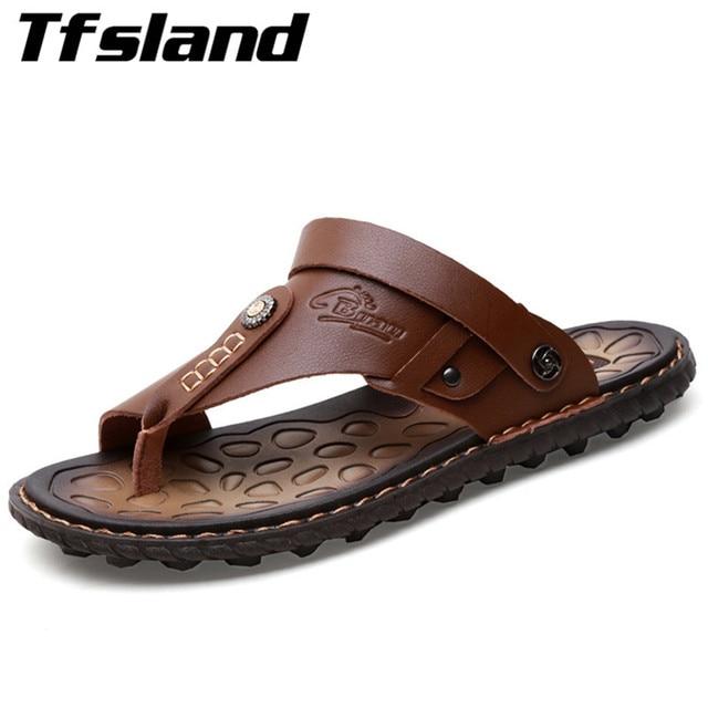 8afce60b1 Summer Men Leisure Leather Flip Flops Flats Sandals Slippers Male Comfort  Beach   Outdoor Sandals Men Water Shoes Homme Sneakers