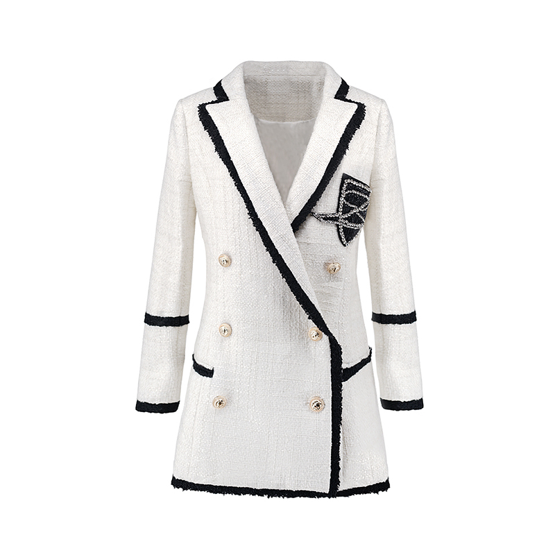 Plus Size XXXL Women High Street Long Jackets Runway Beading Double Breasted Solid Color White Slim