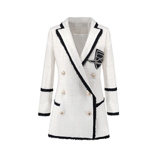 Plus Size XXXL Women High Street Long Jackets Runway Beading Double Breasted Solid Color White Slim Chic Blazers Quality