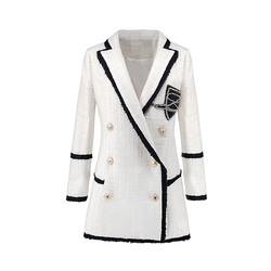 Plus Size XXXL Women High Street Long Jackets Runway Beading Double Breasted Solid Color White Slim Chic Blazers High Quality
