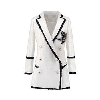 Plus Size XXXL Women High Street Long Jackets Runway Beading Double Breasted Solid Color White Slim Chic Blazers High Quality - DISCOUNT ITEM  30% OFF All Category
