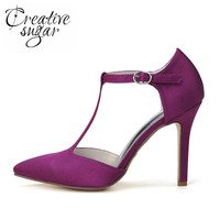 Elegant T Strap Pointed Toe High Heel Pumps Purple White Bridal Wedding Party Prom Shoes Banquet