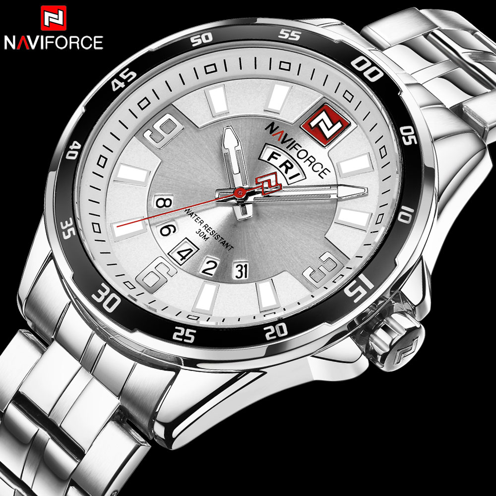 NAVIFORCE Top Luxury Brand Mens Quartz Watch Business Full Steel Watches Week Display Waterproof Male Clock Relogio Masculino mce top brand mens watches automatic men watch luxury stainless steel wristwatches male clock montre with box 335