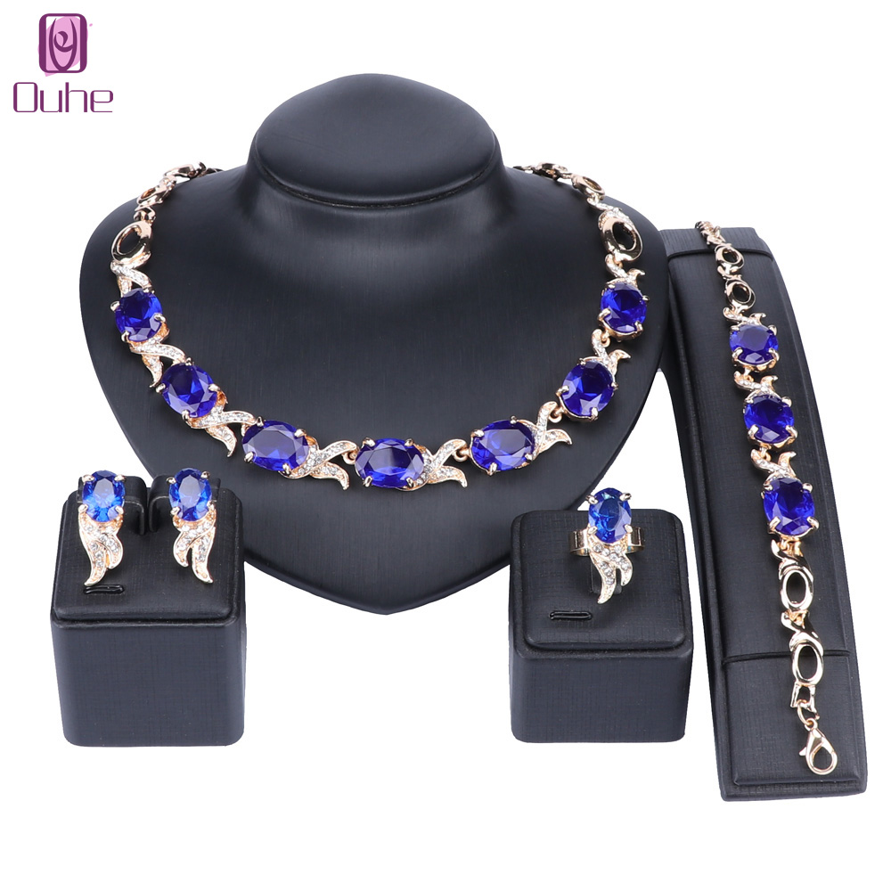 Austrian Crystals Bridal Jewelry Sets Gold Color Blue Dubai Jewellry Sets for Women Necklace Bracelet Earrings Ring Bridal ...