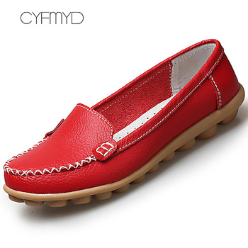 Genuine Leather Shoes Woman Soft Boat shoes for Women Flats shoes Big size 35-44 Ladies Loafers Non-Slip Sturdy Sole 1