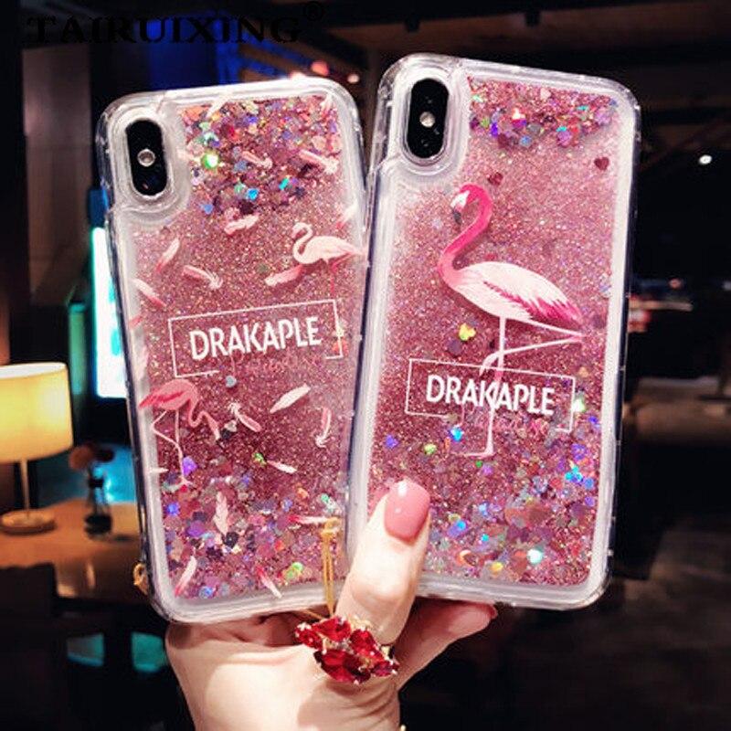 Liquid Case For Samsung Galaxy J3 J5 J7 2017 EU A3 A5 A7 2016 2017 A6 A8 Plus J6 2018 Cartoon Flamingo Soft Silicone Cover