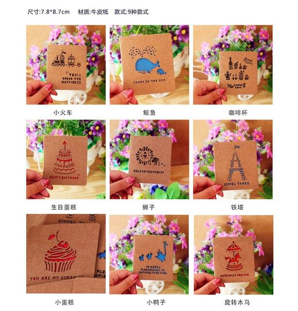 Free Shipping 20pcs Set Animal Birthday Cards Blank Greeting