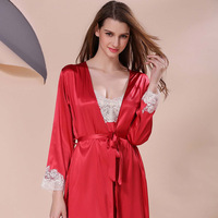 2019 Lace silk robes for women lace robe women red lace sexy nightdress Night Sleep Dress Nighties for Women Underwear Lingerie