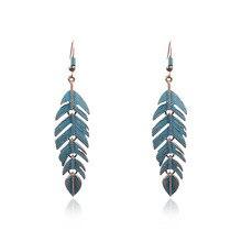 Stainless Steel Feather Vintage Bohemia Ethnic Statement Hook Long Drop Hanging Dangle Women Earrings цена 2017