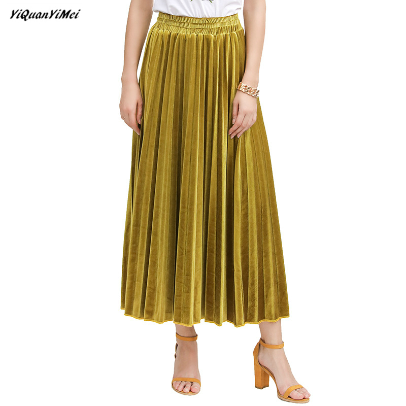 Summer Corduroy skirts long for women pleated skirt woman streetwear high waist skirt vintage skirts kilt faldas mujer jupe saia