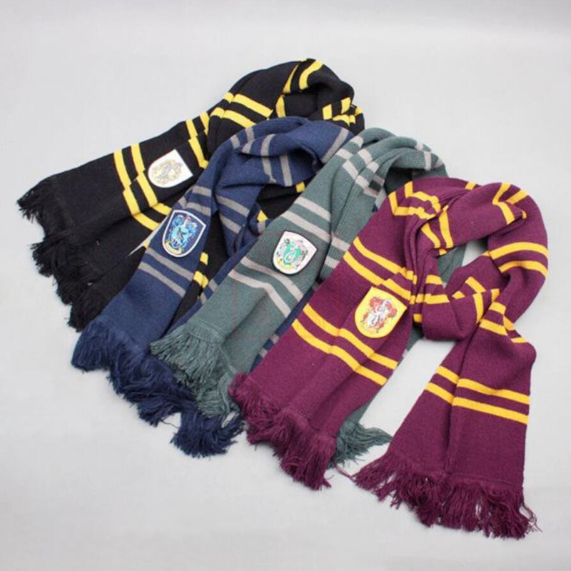 100% Original 190cm Length Gryffindor Slytherin Ravenclaw Hufflepuff House 4 Color  Version Cosplay Scarf Warm Knit Scarf Sale