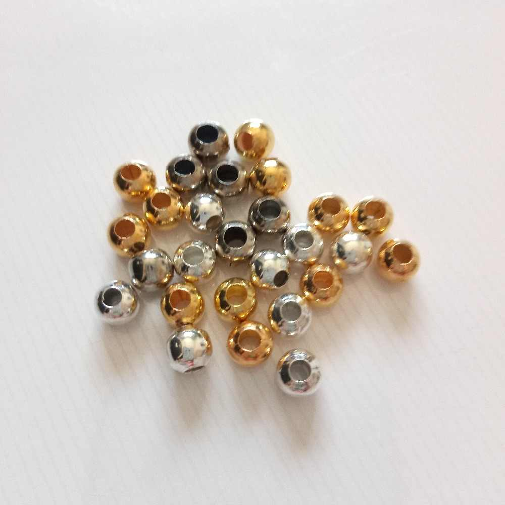 Hot 50pcs  Gold Silver Color Metal Bead Spacer Beads 4/6/8mm Hollow Beads Charm For Diy Bracelets Necklace Jewelry Making