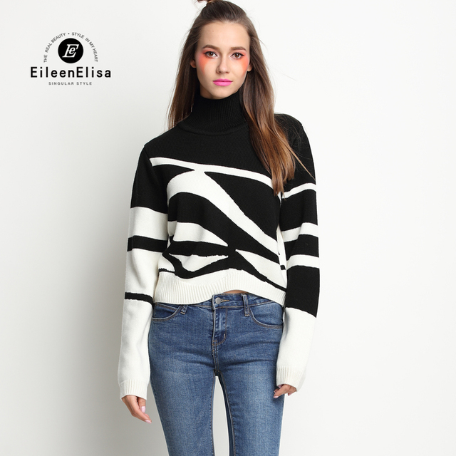 Women Turtleneck Sweaters And Pullovers Runway Luxury Patchwork Sweater 2017