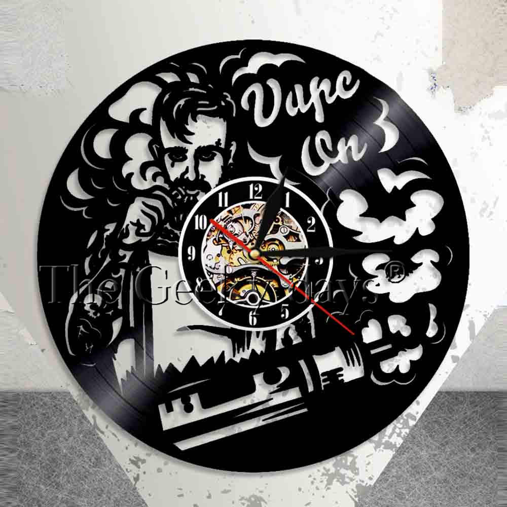 Vape Shop Wall Sign Logo Wall Clock Electronic Cigarette Vinyl Record Clock Vaporizer Vape Cafe Smoke Shop Wall Decor Vape Gift