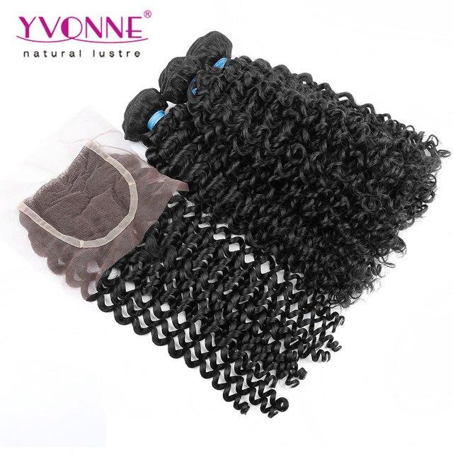 3 Пучки Малайзии Вьющихся Волос С Закрытием, 100% Бразильского Виргинские Волос Связки С Кружевом Закрытие, Высокое Качество ИВОНН волос