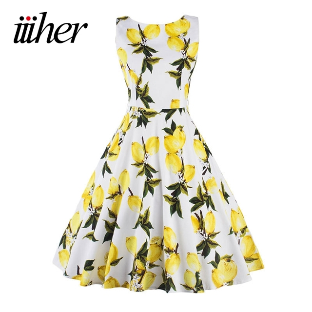 iiiher Lemon Print floral 50 60s Vintage Dresses Audrey Hepburn Sleeveless 2016 Summer Retro Dress Vestidos Robe Womens Clothing