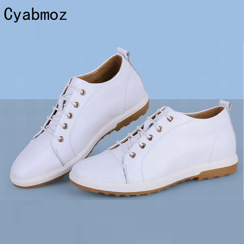 2017 New men's korean fashion height increasing shoes 6cm invisible elevator male genuine leather casual shoes men white shoes