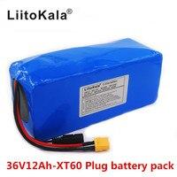 새로운 liitokala 36 v 12ah 내장 리튬 배터리 전기 자전거 배터리 bms 20a 36 볼트 배터리 팩 ebike xt60 플러그