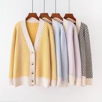 ACRMRAC Women sweater Cardigans Autumn sweater stripe V neck Long sleeve Slim Knit sweater Women