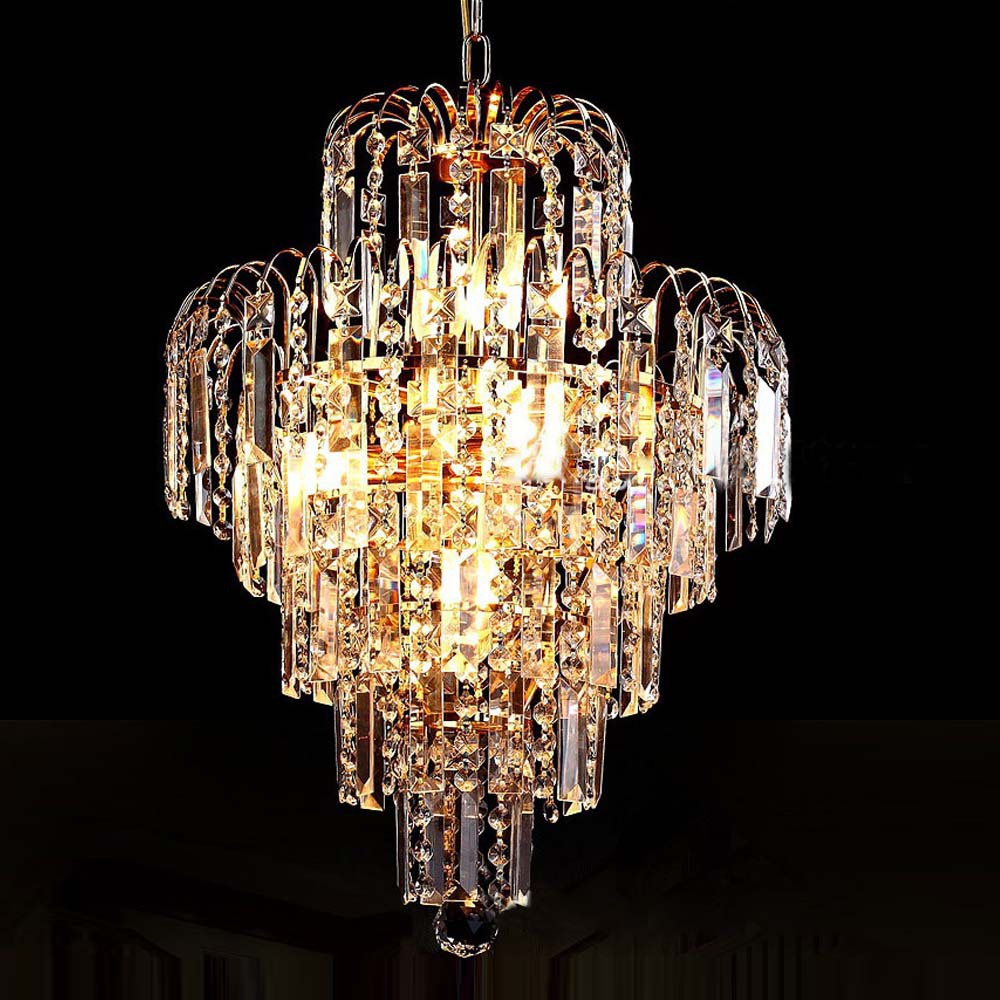 Luxury royal gold crystal k9 chandelier pendant lamp crystal golden chandeliers hall living room - Lighting and chandeliers ...