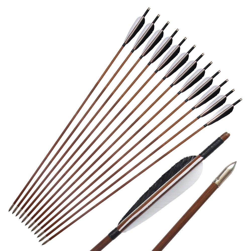 12Pcs Lot Linkboy Archery Bamboo Arrow Shaft 85cm 5 Turkey Feather Bow Hunting