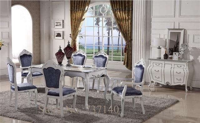€ 1356.8 |Mesa de comedor antigua muebles de lujo mesa cuadrada Silla de  escritorio combinación de mesa de comedor de madera 6 sillas en Mesas de ...