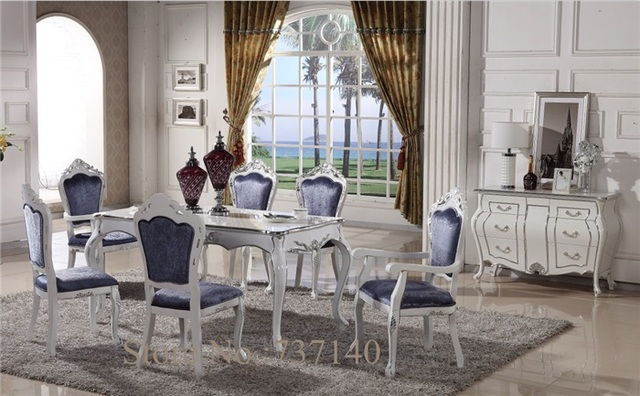 Table And 6 Chairs Small Chaise Lounge Chair Antique Dining Luxury Furniture Square Desk Combination Wooden