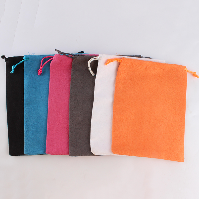 100pcs/lot 15*20cm High Quality Custom Logo Printed Suede Drawstring Bag Pouch Jewelry Gifts Packing Box Pouch
