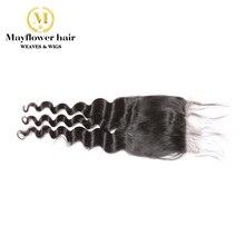 """Mayflower 4X"""" кружево с завязкой натуральные волосы малазийские натуральные волнистые с детскими волосами полностью ручная работа Средний коричневый цвет швейцарское кружево"""