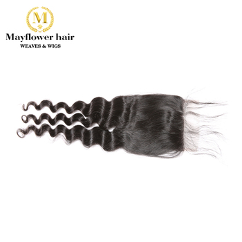 """Mayflower 4X4"""" Lace closure Virgin hair Malaysian natural wave with baby hair Full hand made Middle brown color Swiss lace"""
