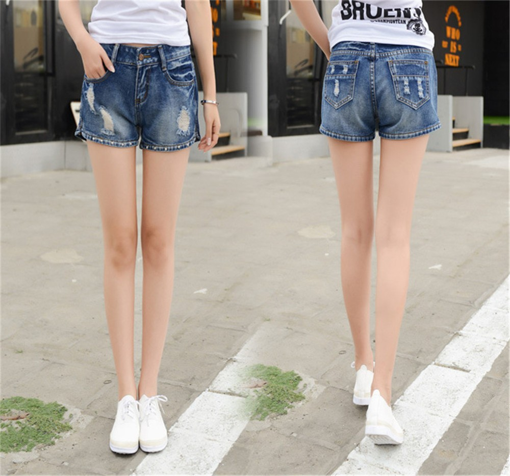 Mainland Retro Mid waist Women Short Jeans Woman Denim Female Wild Short-Pants Summer Loose Short Fashion Plus size Short jeans  (13)